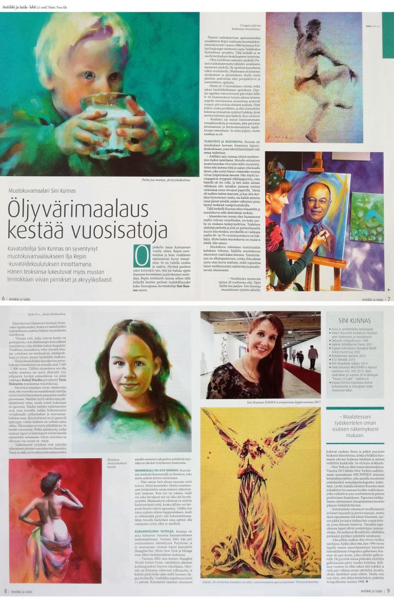 Antiikki ja taide- artikkeli helmikuu 2018